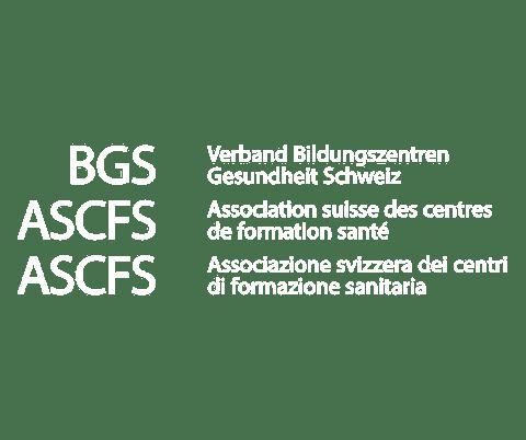 Logo von BGS in weiss für Kampagne Karriere machen als Mensch.