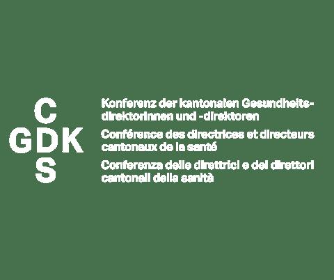 Logo von GDK in weiss für Kampagne Karriere machen als Mensch.