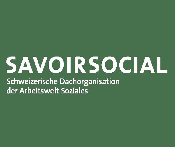 Logo von savoir social in weiss für Kampagne Karriere machen als Mensch.
